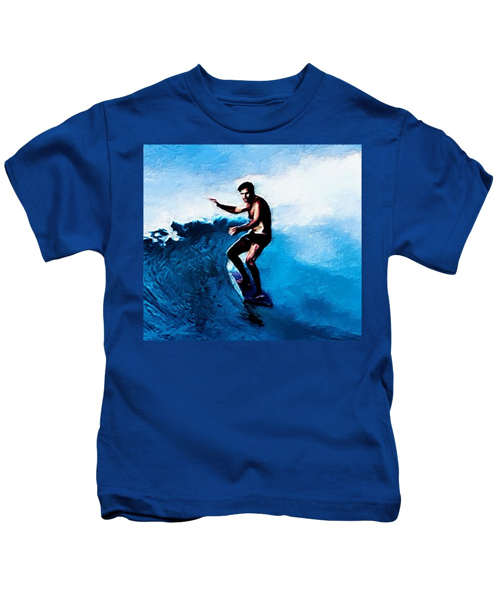 Surf Kids T-Shirt featuring the digital art Surfing Legends 10 by Keith Kos