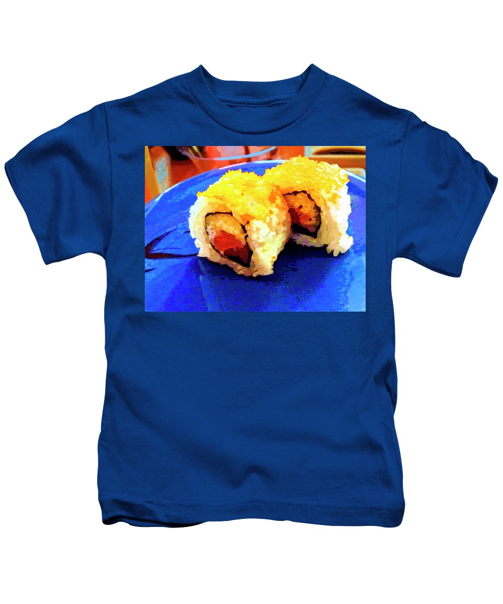 Sushi Plate Kids T-Shirt featuring the mixed media Sushi Plate 3 by Dominic Piperata