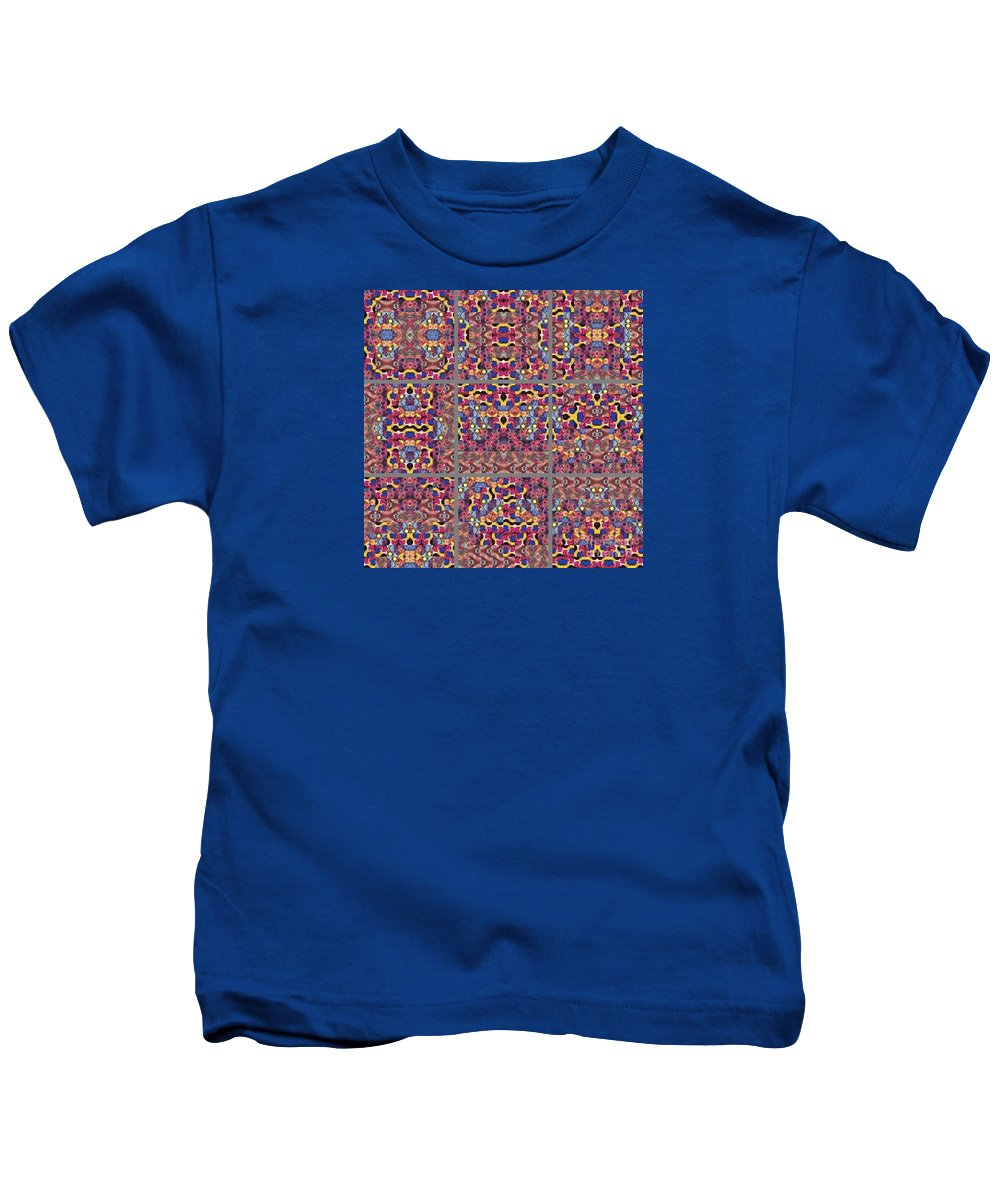 Abstract Kids T-Shirt featuring the painting T J O D Mandala Series Puzzle 3 Variations 1-9 by Helena Tiainen
