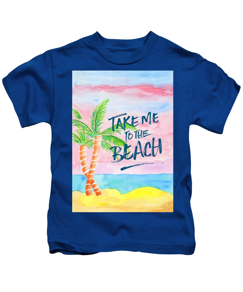 Take Me To The Beach Kids T-Shirt featuring the painting Take Me To The Beach Palm Trees Watercolor Painting by Beverly Claire Kaiya