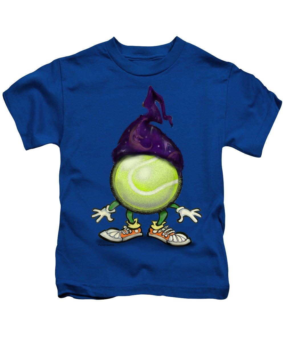 Tennis Kids T-Shirt featuring the digital art Tennis Wiz by Kevin Middleton