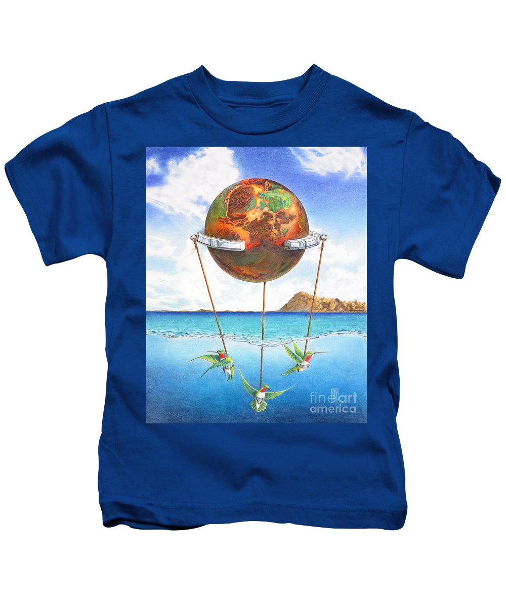 Surreal Kids T-Shirt featuring the painting Tethered Sphere by Melissa A Benson