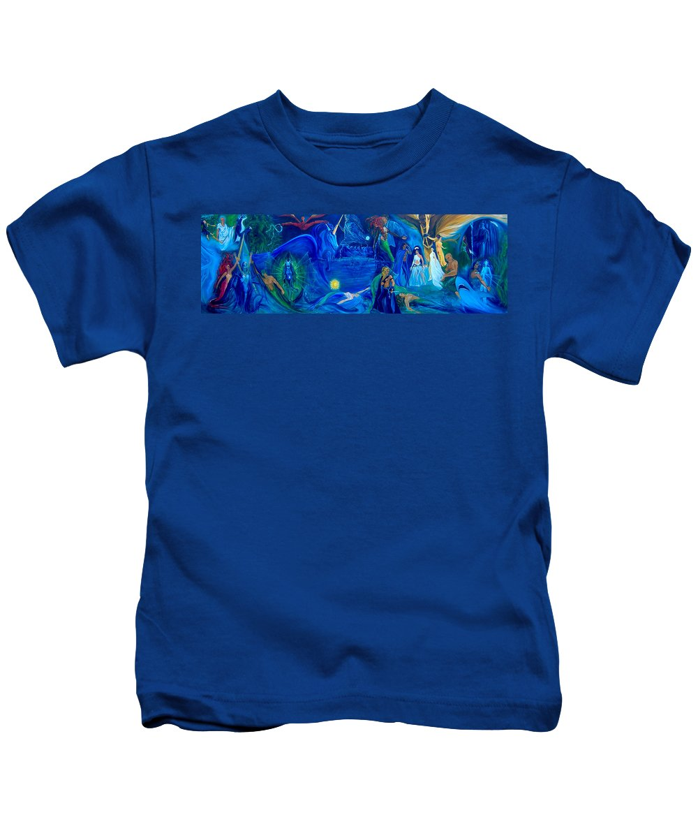 Fantasy Kids T-Shirt featuring the painting The Aquarian Family Tree by Jennifer Christenson