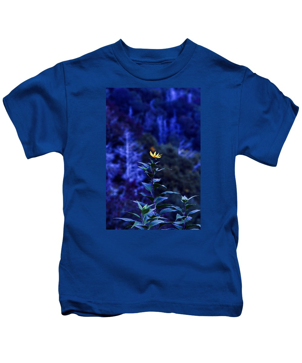 The Blue Flower Kids T-Shirt featuring the photograph The Blue Flower by Roland Kemler