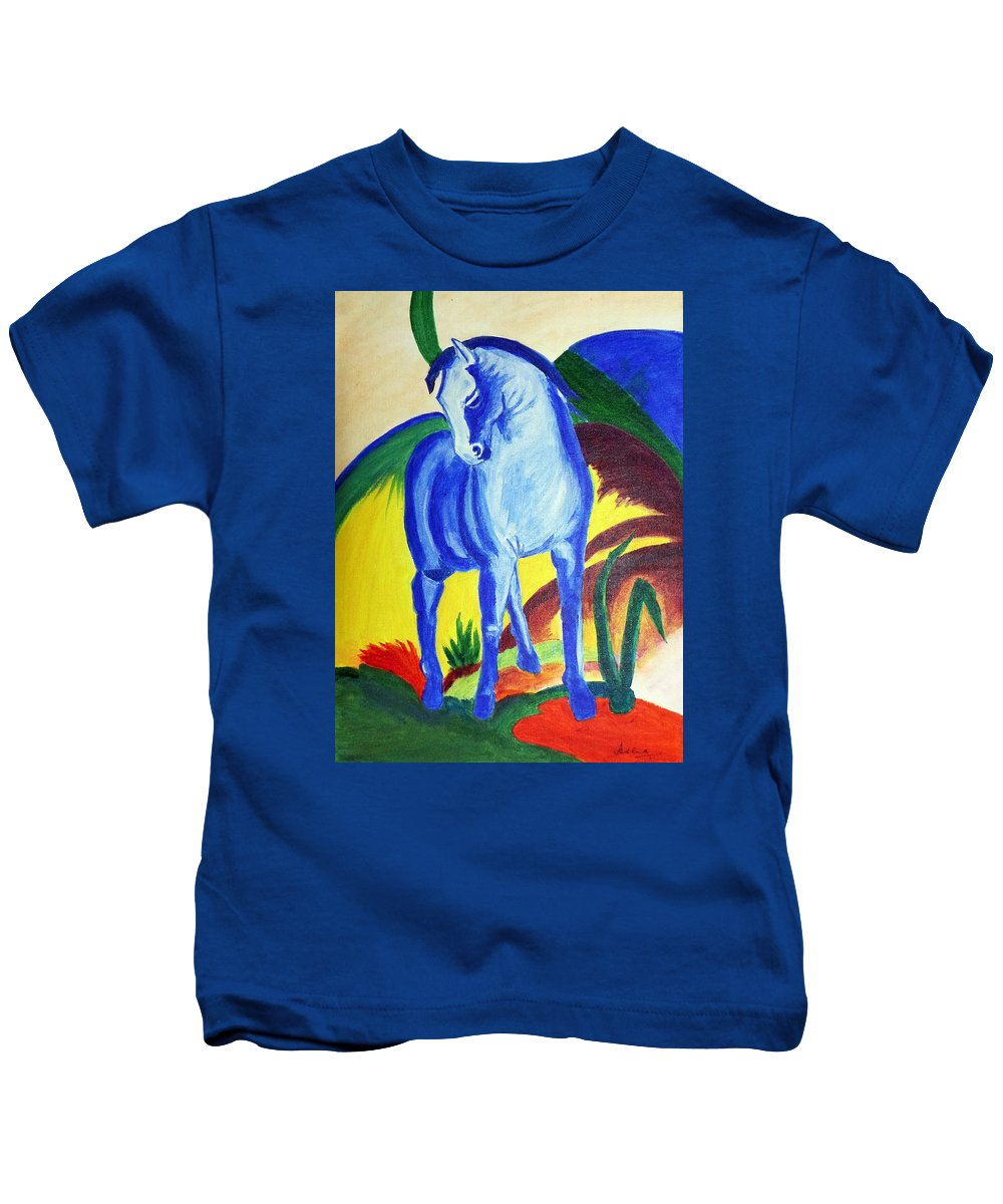 Horse Kids T-Shirt featuring the painting The Blue Horse Franc Marz by Asha Sudhaker Shenoy