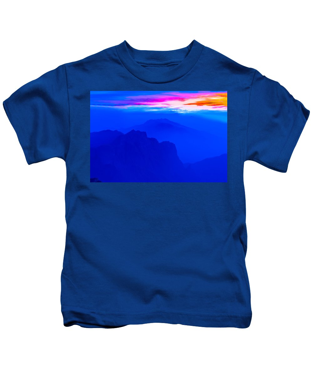 Canary Archipelago Kids T-Shirt featuring the photograph The Blue Mountain by Jean-luc Bohin