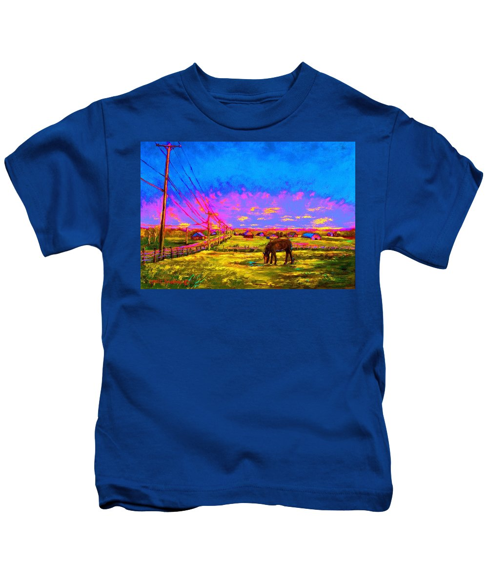 Western Art Kids T-Shirt featuring the painting The Golden Meadow by Carole Spandau