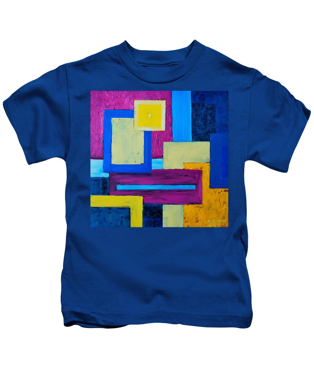 Abstract Kids T-Shirt featuring the painting The Last Message by Ana Maria Edulescu