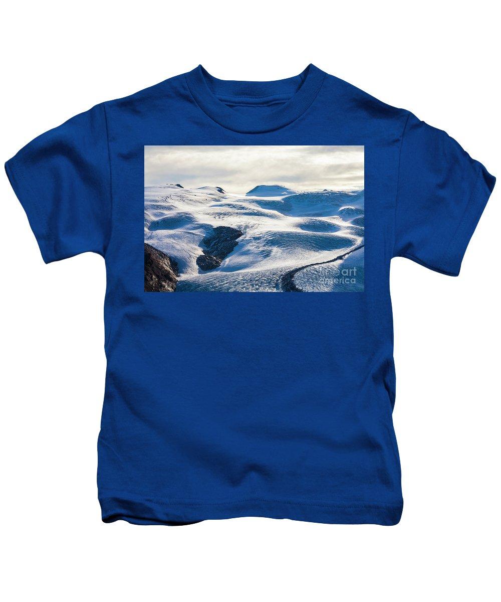 Zermatt Kids T-Shirt featuring the photograph The Monte Rosa Glacier In Switzerland by Werner Dieterich