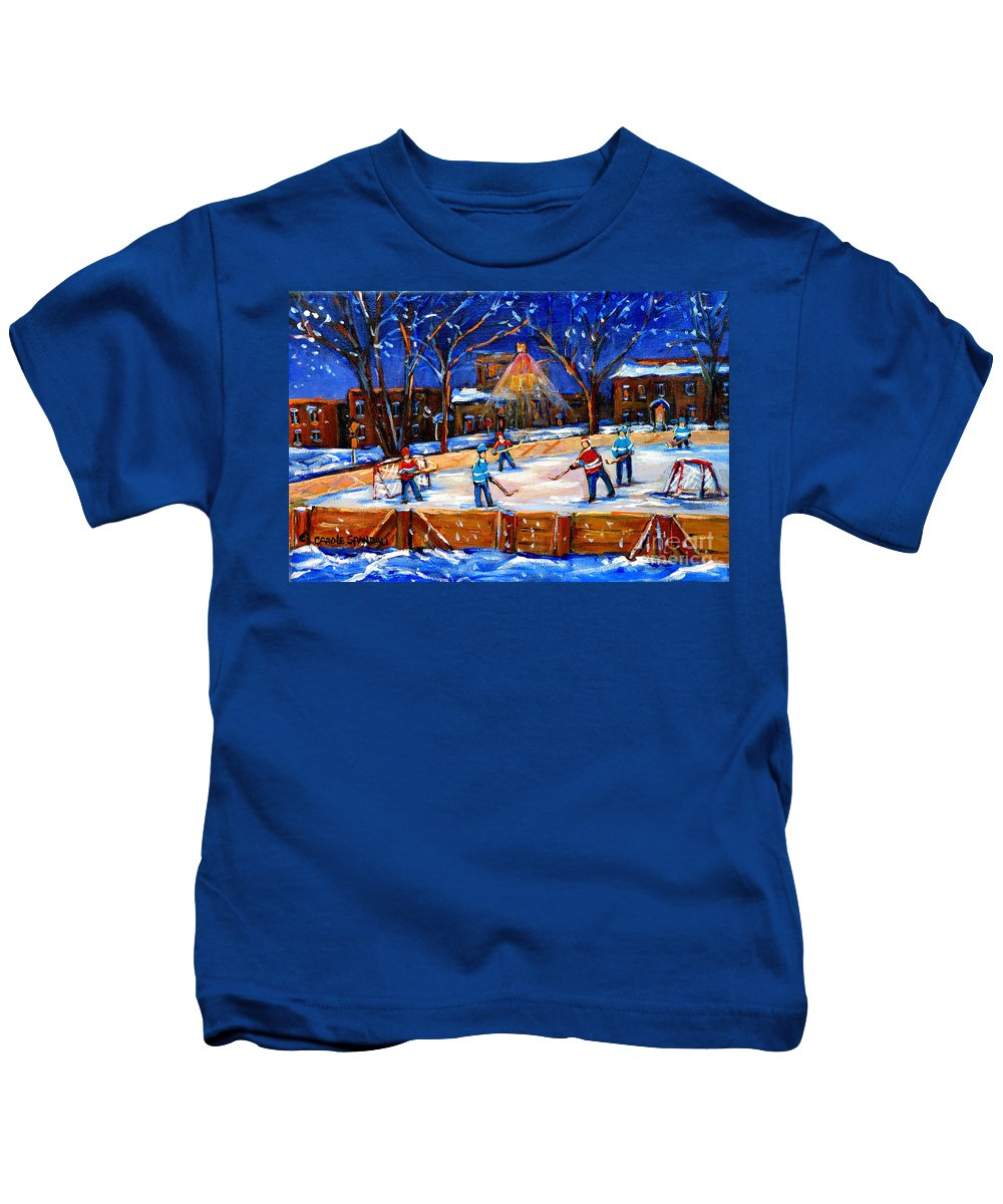 Montreal Kids T-Shirt featuring the painting The Neighborhood Hockey Rink by Carole Spandau