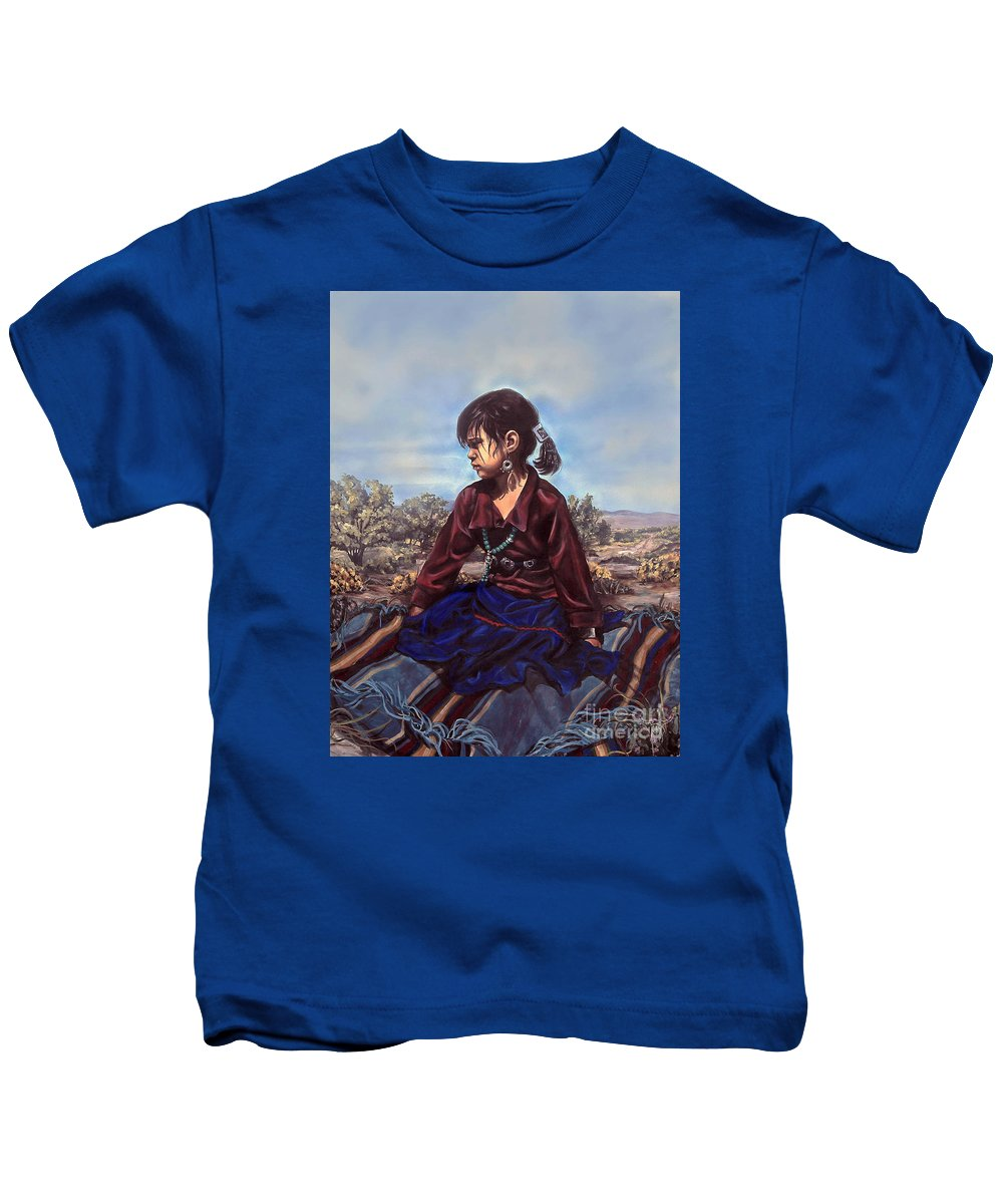 Native Kids T-Shirt featuring the painting The Patient Child by Kim Marshall