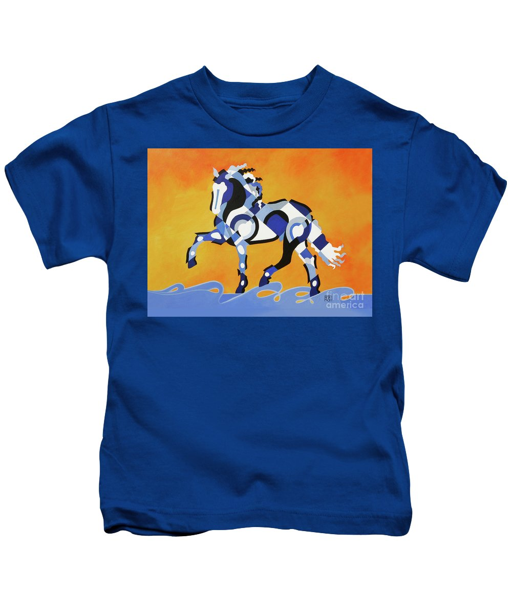 Horse Art Kids T-Shirt featuring the painting The Power Of Equus by Barbara Rush