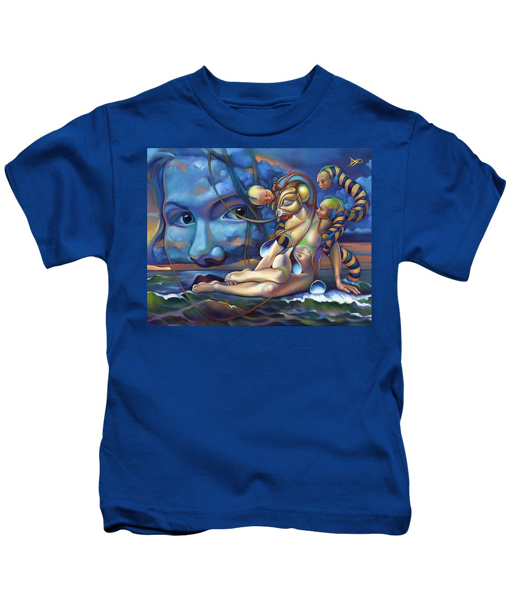 Mermaid Kids T-Shirt featuring the painting The Rebirth Of Venus by Patrick Anthony Pierson
