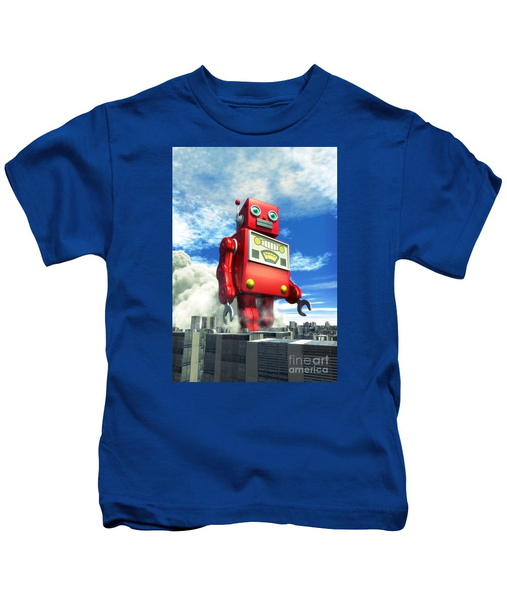 Robot Kids T-Shirt featuring the digital art The Red Tin Robot And The City by Luca Oleastri