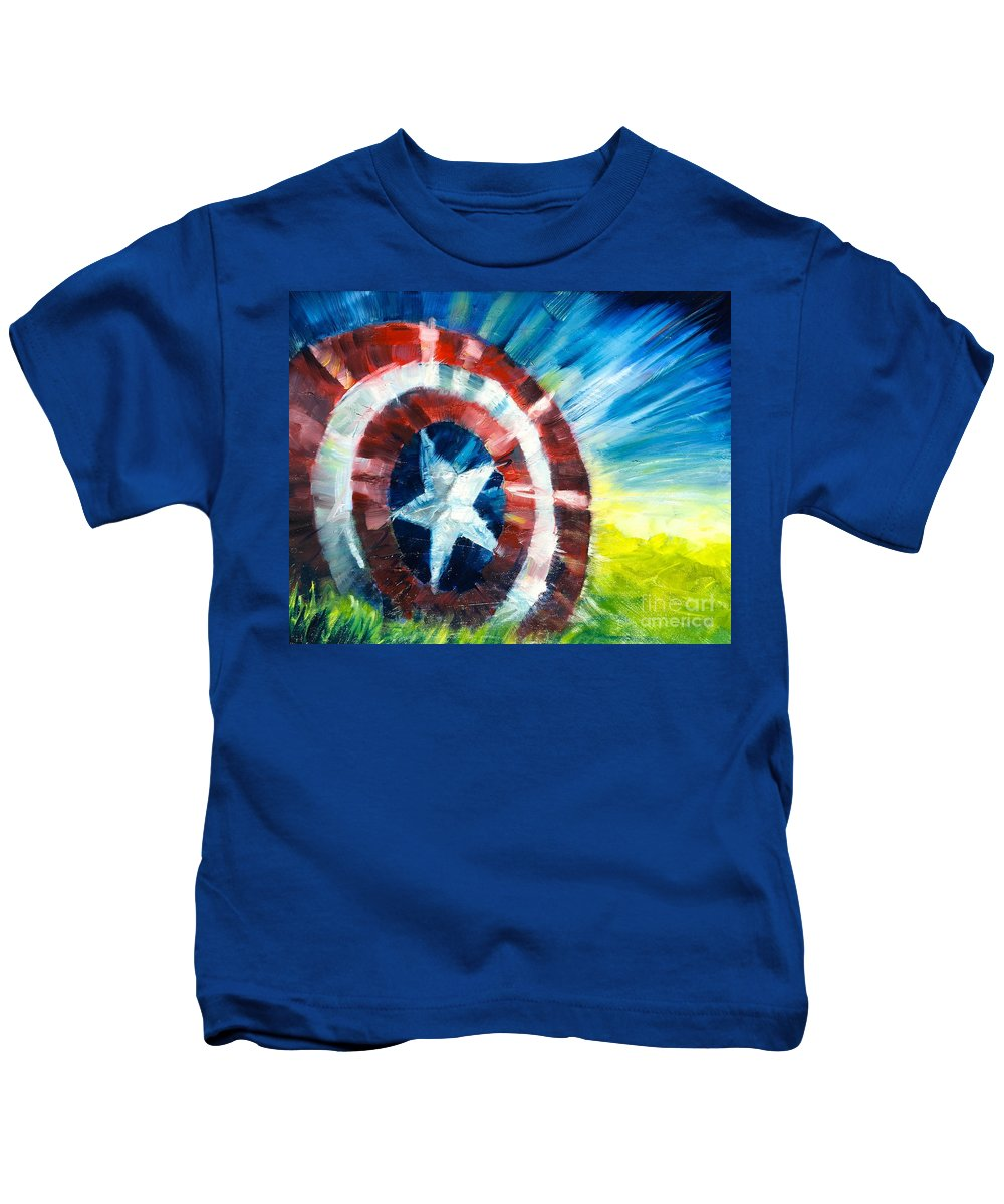Capt. America Kids T-Shirt featuring the painting The Shield by Alan Metzger