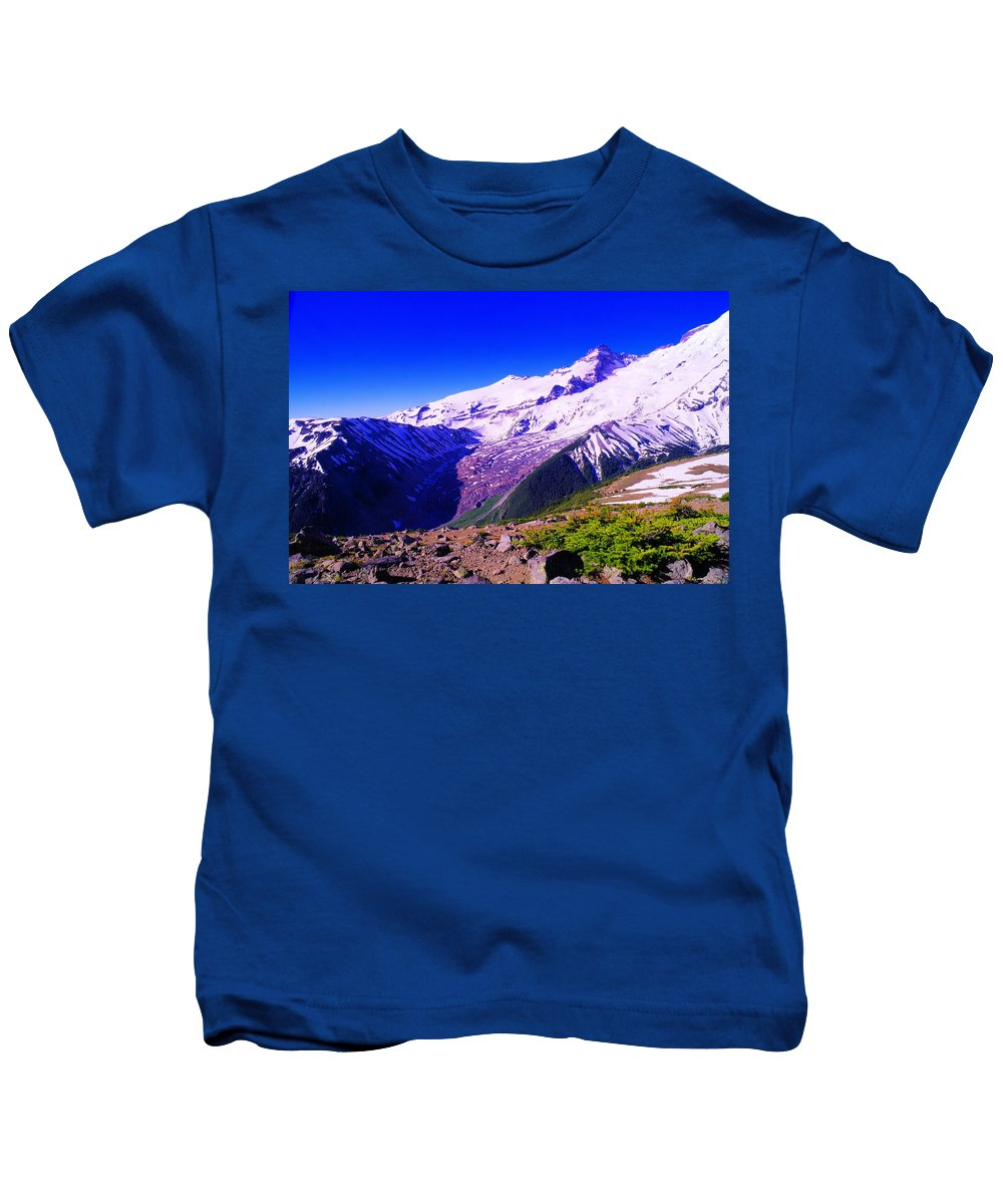 Mount Rainier National Park Kids T-Shirt featuring the photograph The Sourdough Drainage by Jeff Swan