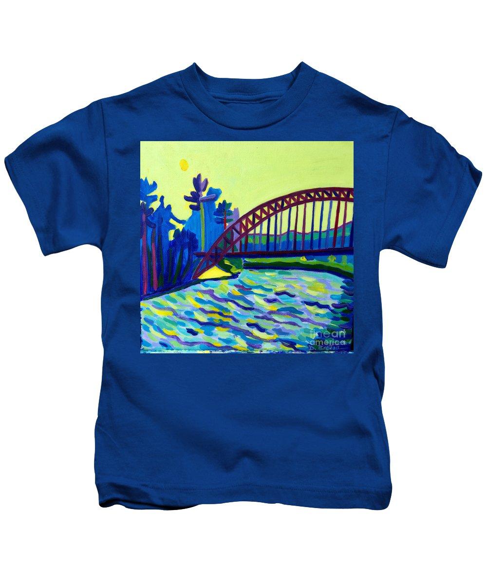 Water Kids T-Shirt featuring the painting The Tyngsborough Bridge by Debra Bretton Robinson