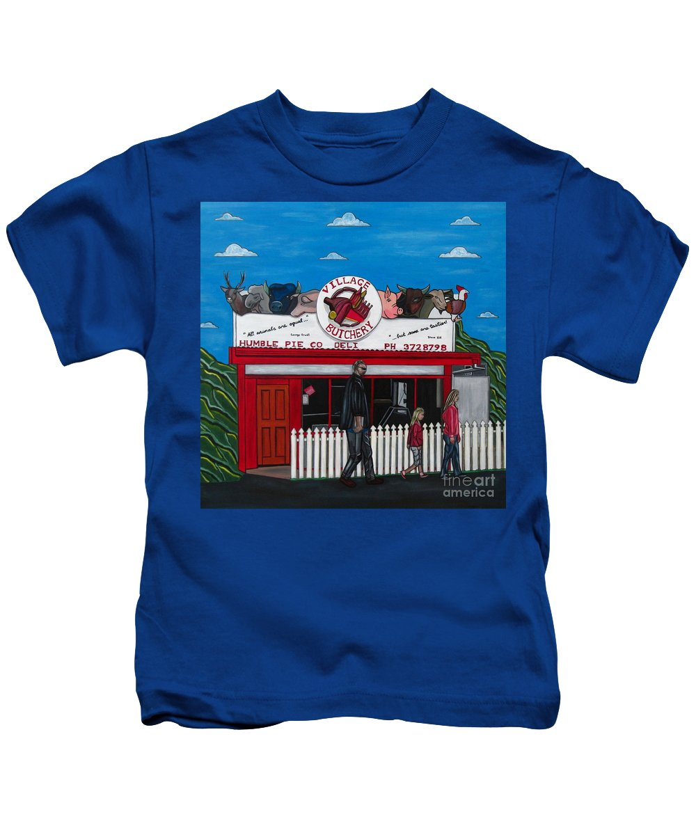 Buildings Kids T-Shirt featuring the painting The Village by Sandra Marie Adams