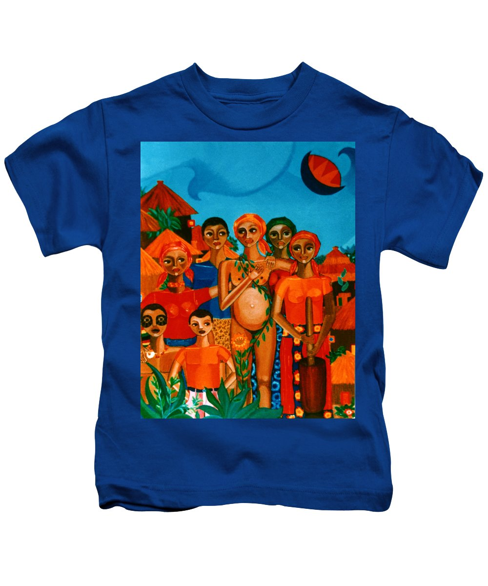 Pregnant Women Kids T-Shirt featuring the painting There Are Always Sunflowers For Those Waiting A New Life by Madalena Lobao-Tello