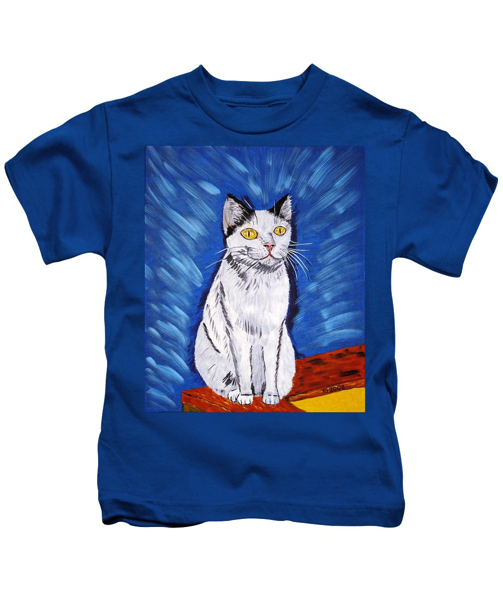 Cat Kids T-Shirt featuring the painting There Is A Bird by Valerie Ornstein