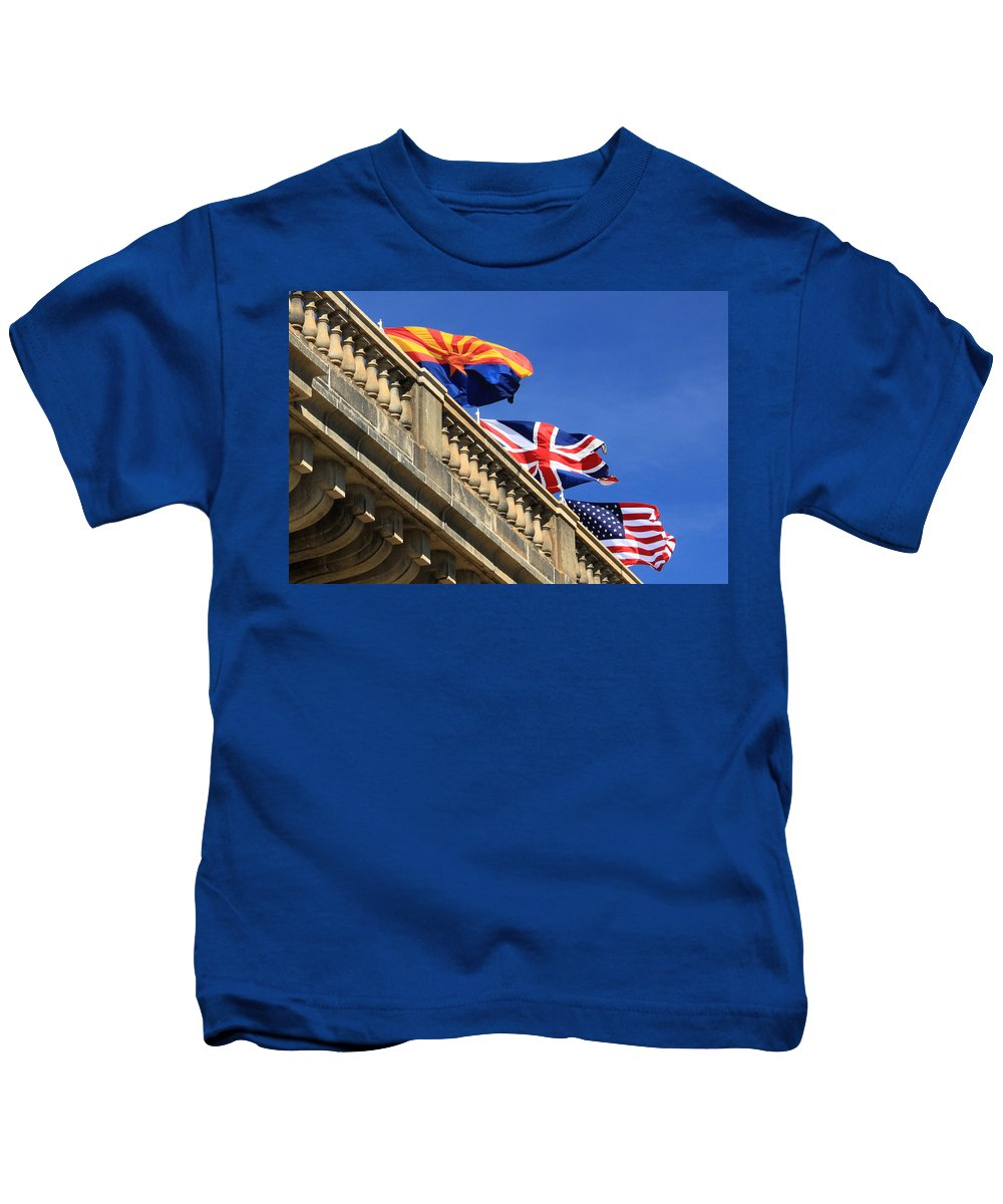 London Bridge Kids T-Shirt featuring the photograph Three Flags At London Bridge by James Eddy