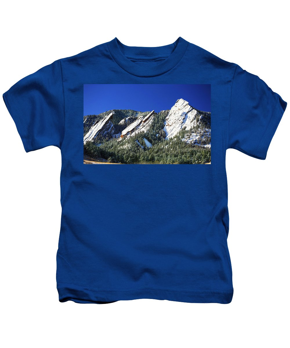 Colorado Kids T-Shirt featuring the photograph Three Flatirons by Marilyn Hunt