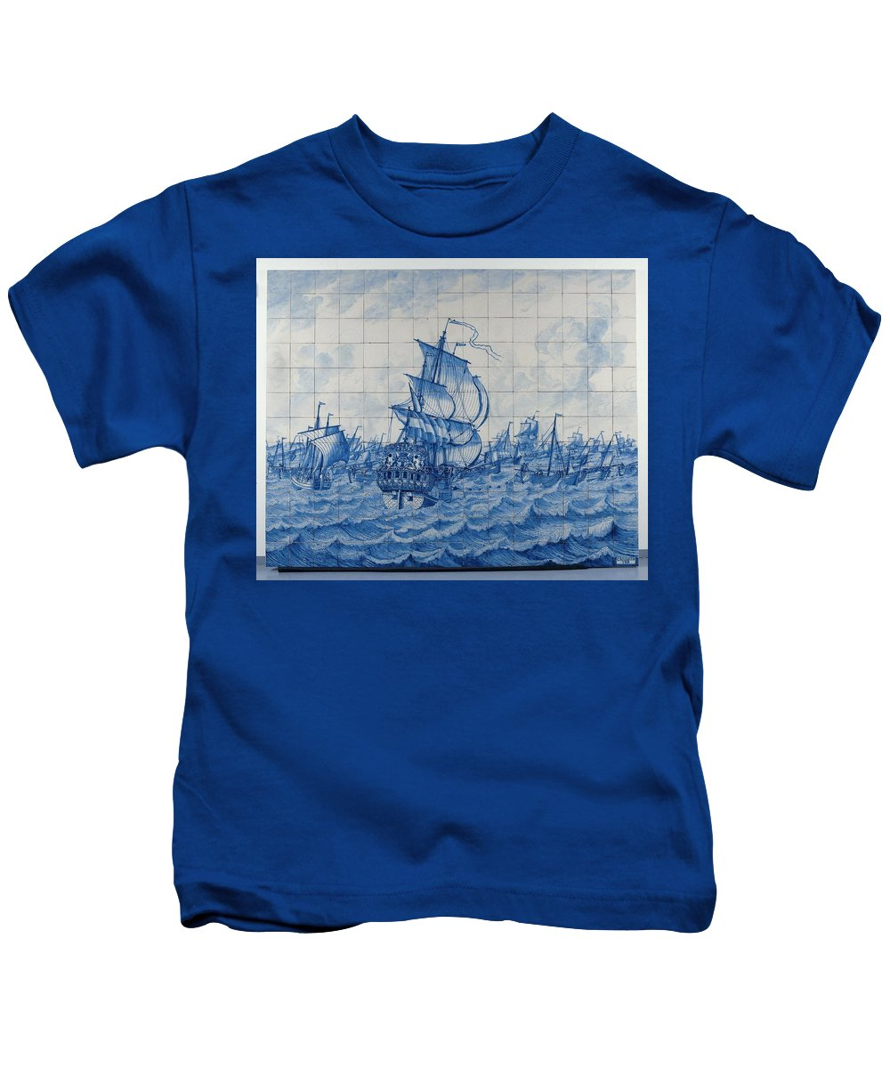 Tile Panel Depicting The Warship Rotterdam And The Herring Fleet Kids T-Shirt featuring the painting Tile Panel Depicting The Warship Rotterdam by MotionAge Designs