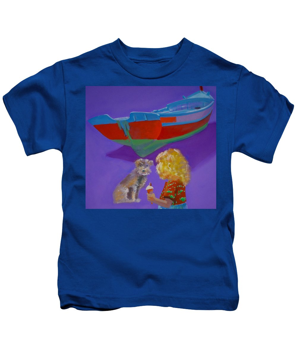 Blonde Kids T-Shirt featuring the painting Toto by Charles Stuart