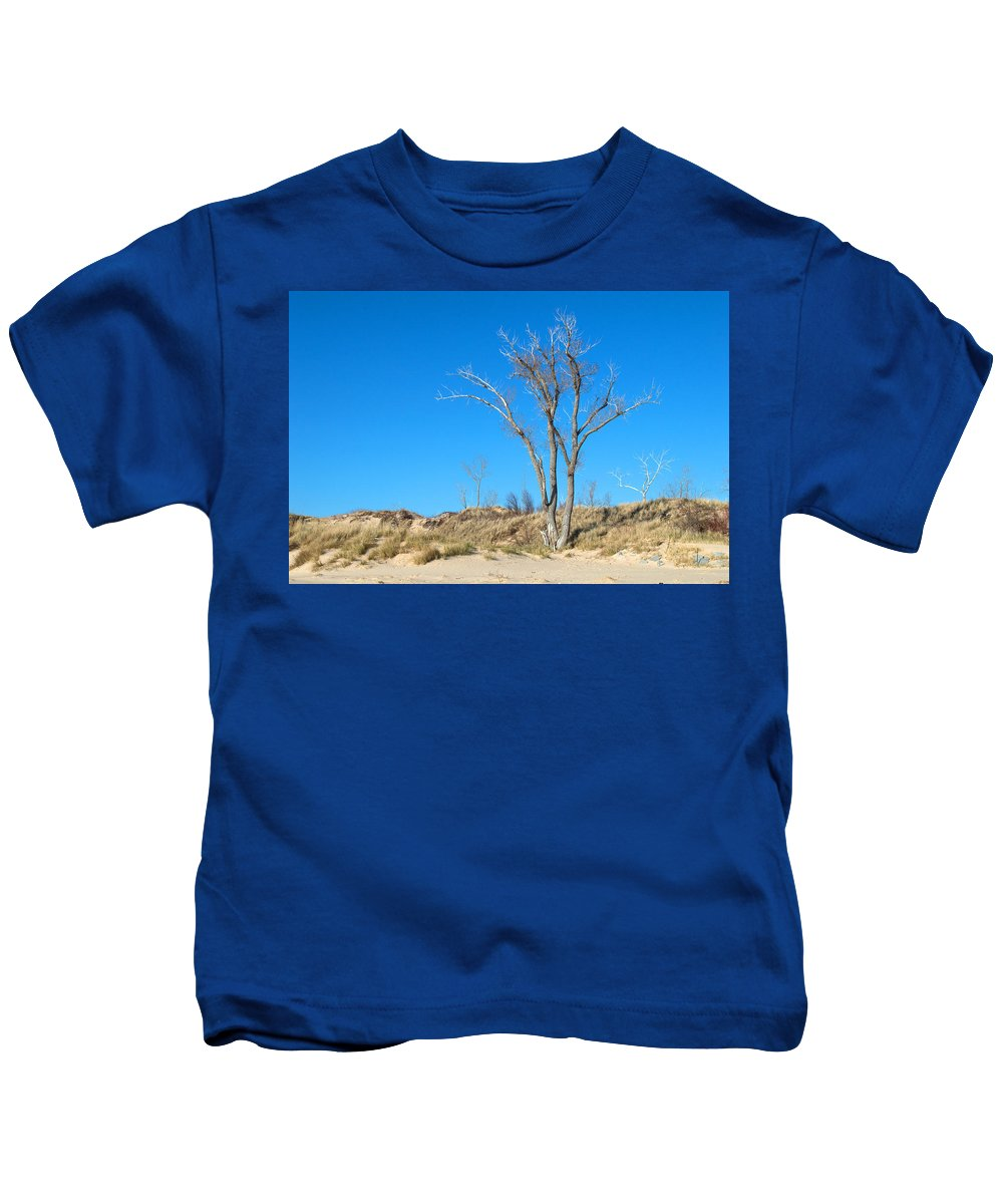 Tree Kids T-Shirt featuring the photograph Tree And A Dune by Linda Kerkau