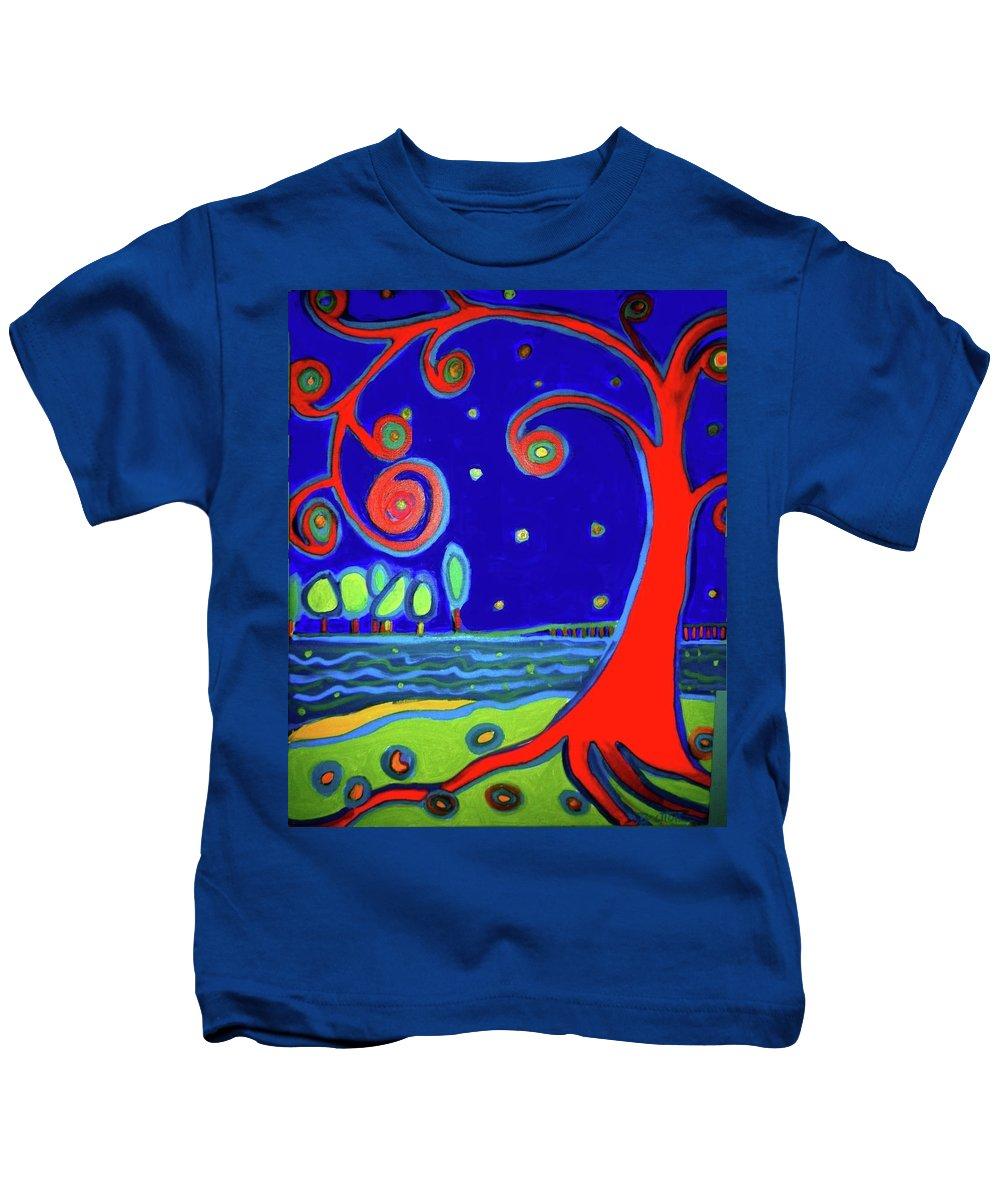 Manchester-by-the-sea Kids T-Shirt featuring the painting tree of life Manchester-by-the-sea by Debra Bretton Robinson