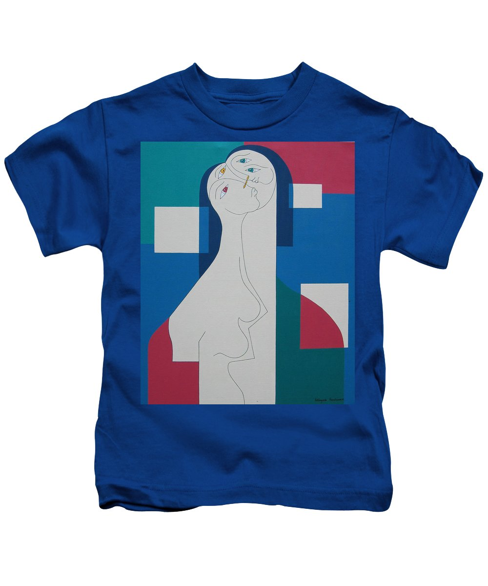 Modern Women Bleu Green Red Humor Kids T-Shirt featuring the painting Trio by Hildegarde Handsaeme