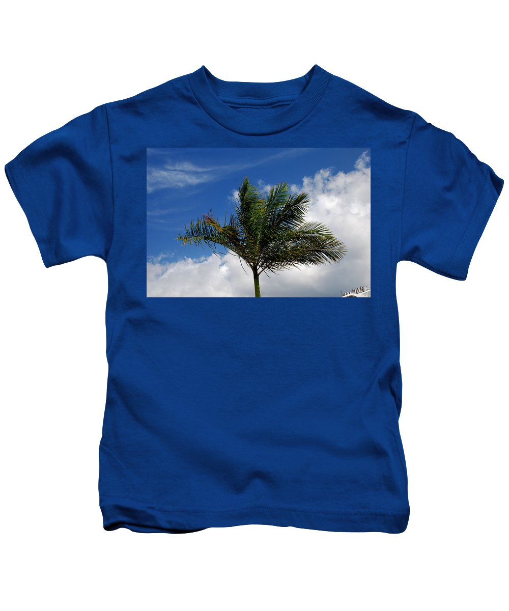 Palm Tree Kids T-Shirt featuring the photograph Tropical Breeze by Gary Wonning