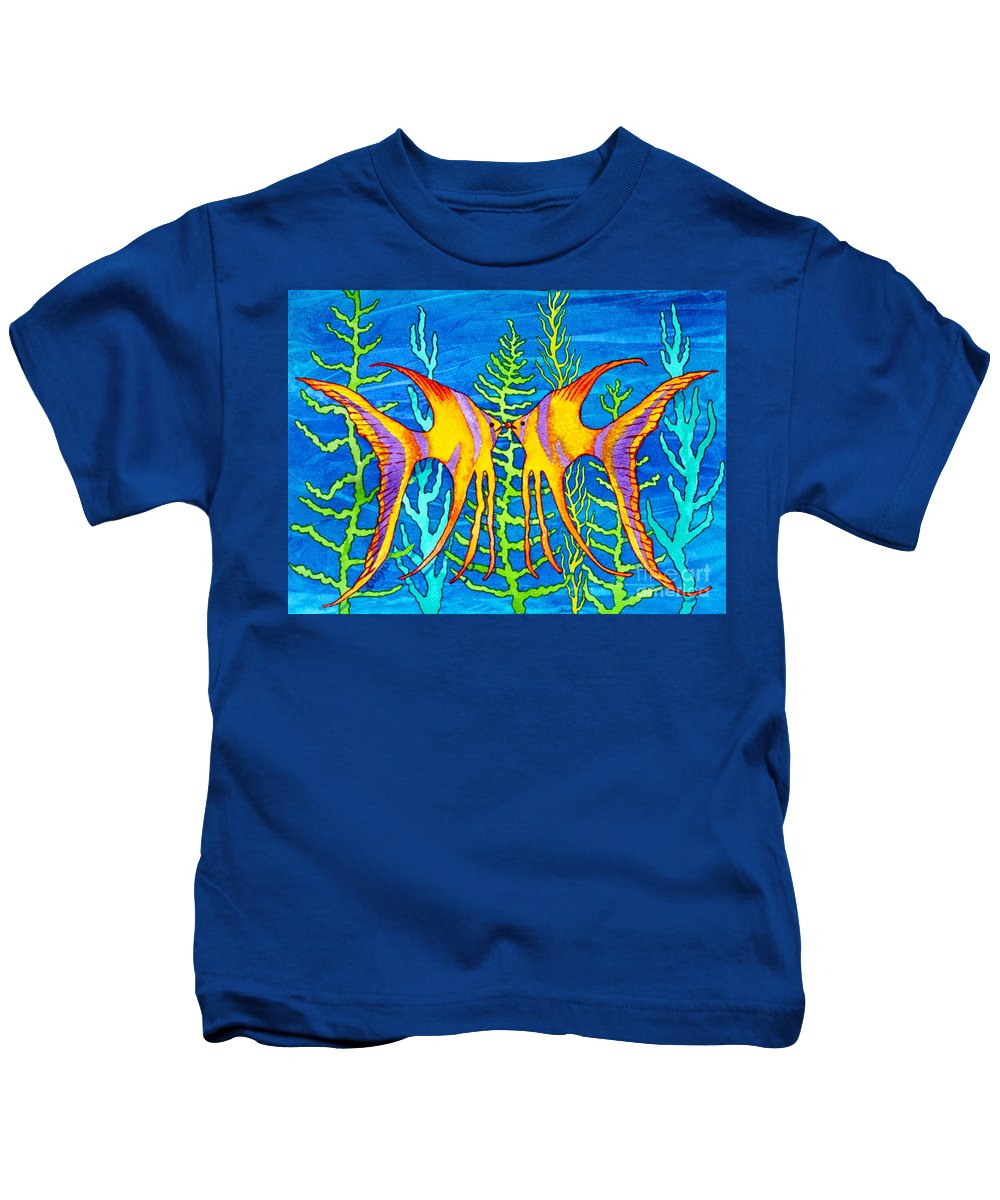 Tropical Fish Kids T-Shirt featuring the painting Tropical Fish by Teresa Ascone