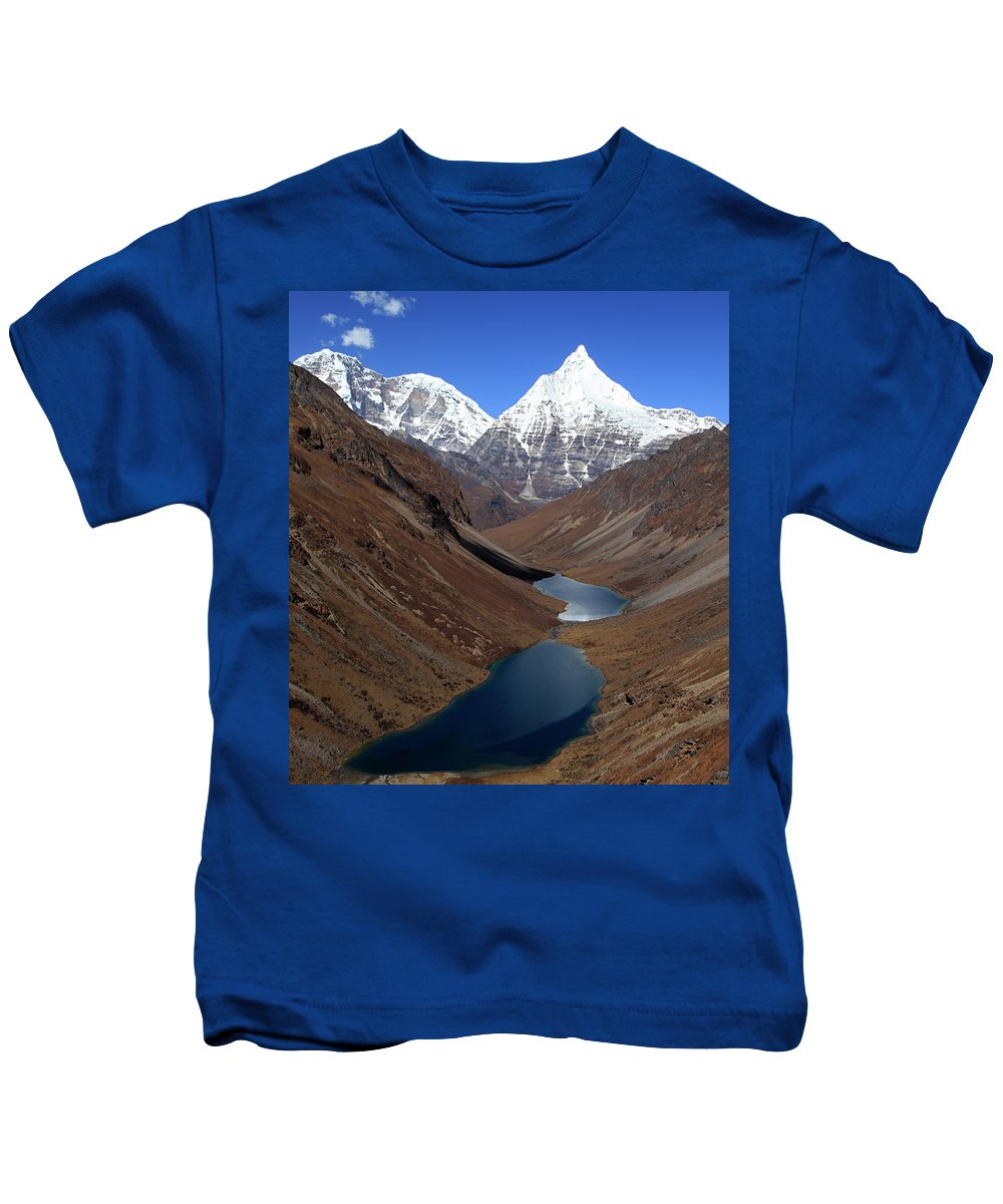 Jichu Drake Kids T-Shirt featuring the photograph Tsho Phu Lakes And Jichu Drake by Edmund Hall