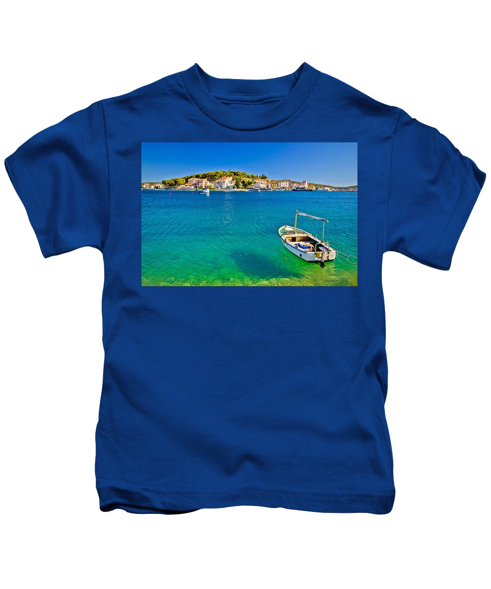 Croatia Kids T-Shirt featuring the photograph Turquoise Beach And Boat In Rogoznica by Brch Photography