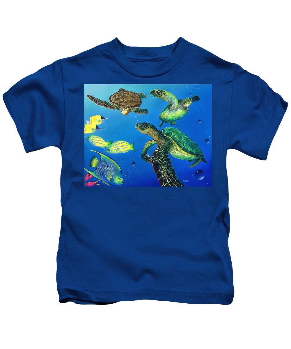 Turtle Kids T-Shirt featuring the painting Turtle Towne by Angie Hamlin