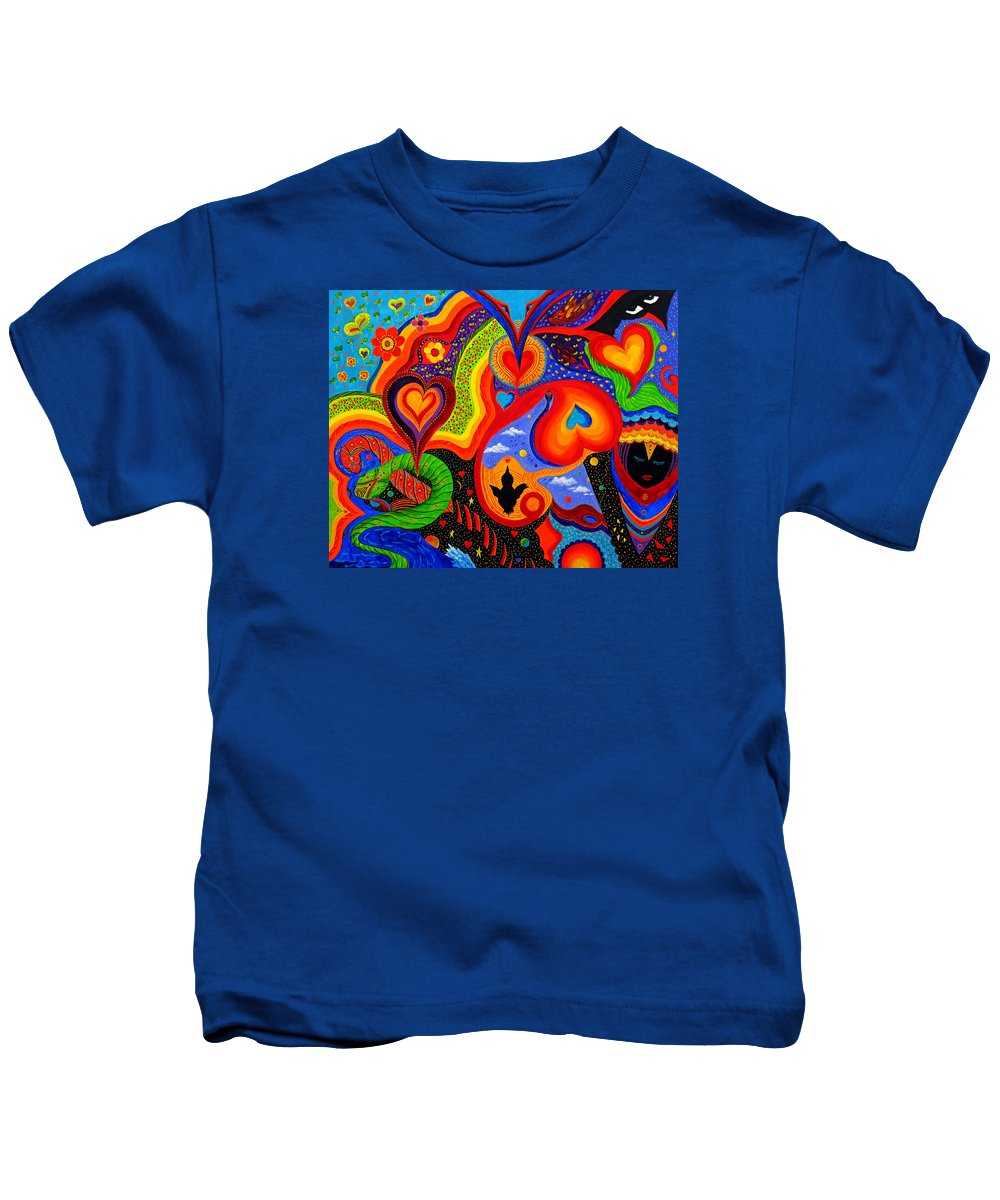 Abstract Kids T-Shirt featuring the painting Hearts by Marina Petro