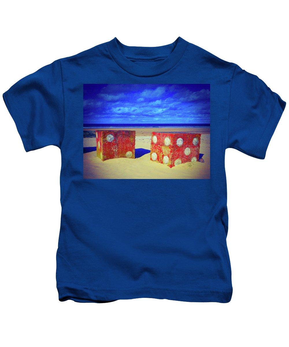 Beach Kids T-Shirt featuring the photograph Two Dice On A Beach by Findlay Rankin