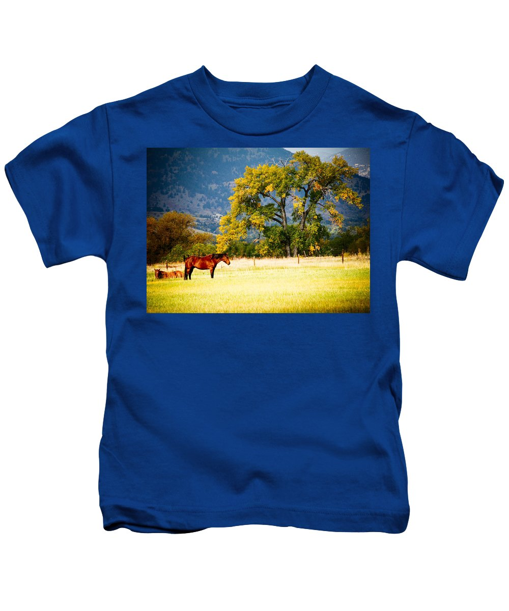 Animal Kids T-Shirt featuring the photograph Two Horses by Marilyn Hunt