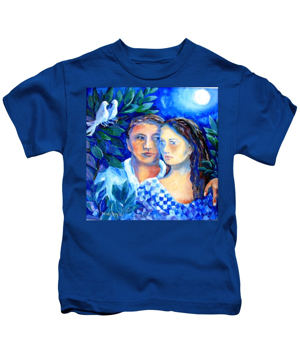 Lovers Kids T-Shirt featuring the painting Two Turtle Doves by Trudi Doyle