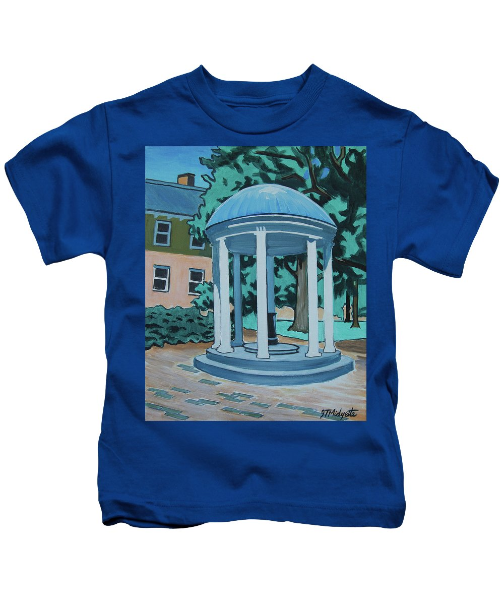 University Of North Carolina At Chapel Hill Kids T-Shirt featuring the painting Unc Old Well by Tommy Midyette