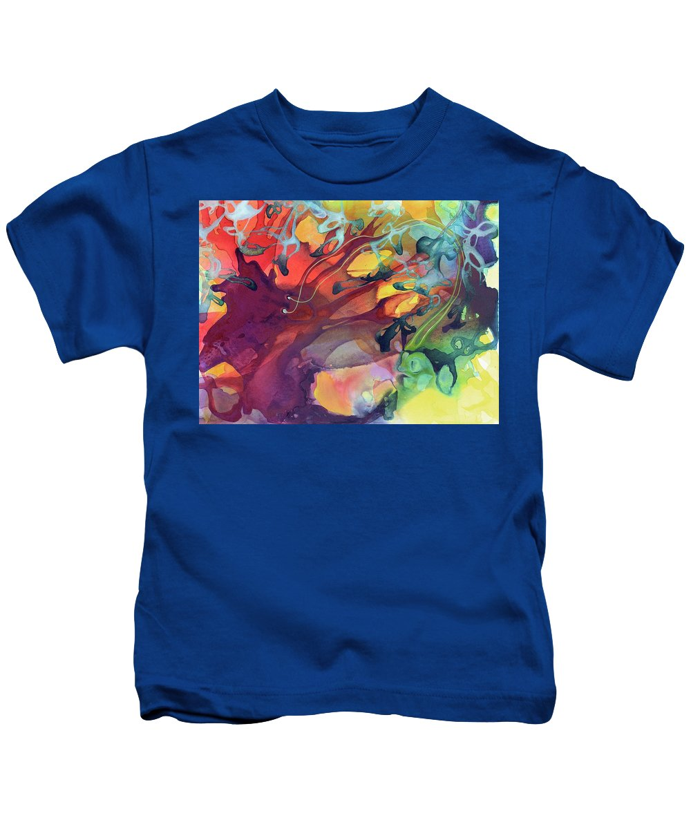Abstract Kids T-Shirt featuring the painting Uncontrolled by Darcy Lee Saxton