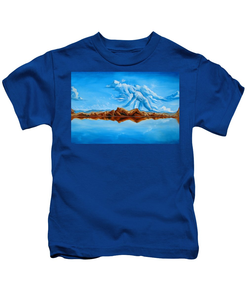 Surrealism Kids T-Shirt featuring the painting Unfinished Business by Darwin Leon