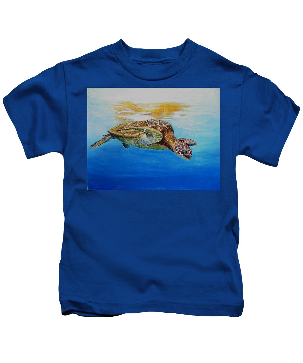 Wildlife Kids T-Shirt featuring the painting Up For Some Rays by Ceci Watson