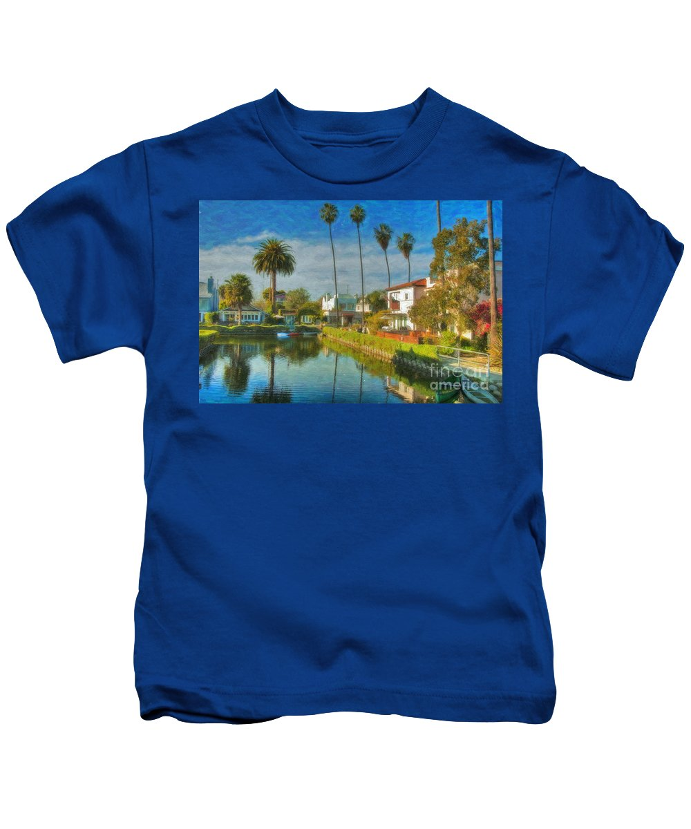 Venice Kids T-Shirt featuring the photograph Venice Canal Houses Watercolor by David Zanzinger
