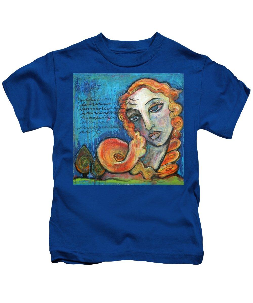 Venus Kids T-Shirt featuring the painting Venus Lets Go by Laurie Maves ART
