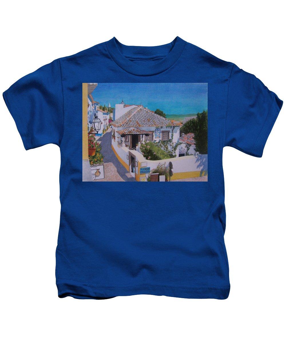 Green Kids T-Shirt featuring the mixed media View On Obidos by Constance Drescher