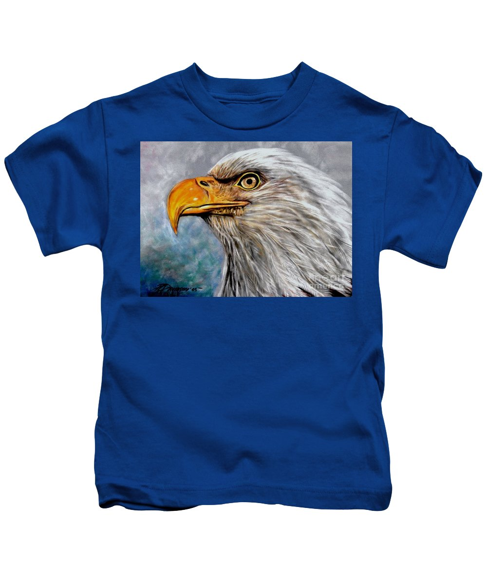 Eagle Kids T-Shirt featuring the painting Vigilant Eagle by Patricia L Davidson
