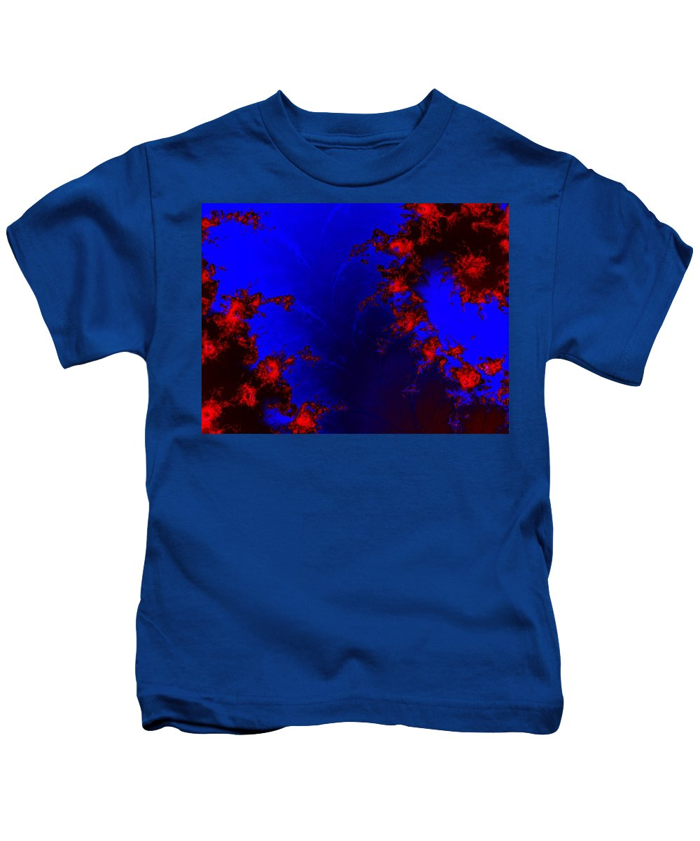 Lava Flow Wind Rythm Volcano Red Blue Kids T-Shirt featuring the digital art Volcano by Veronica Jackson