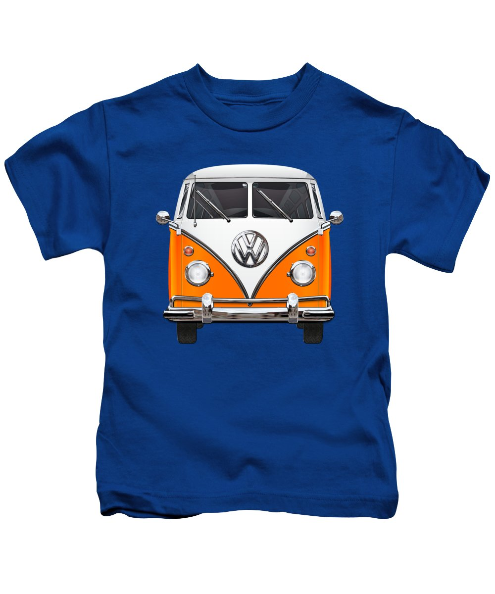 'volkswagen Type 2' Collection By Serge Averbukh Kids T-Shirt featuring the photograph Volkswagen Type - Orange and White Volkswagen T 1 Samba Bus over Blue Canvas by Serge Averbukh
